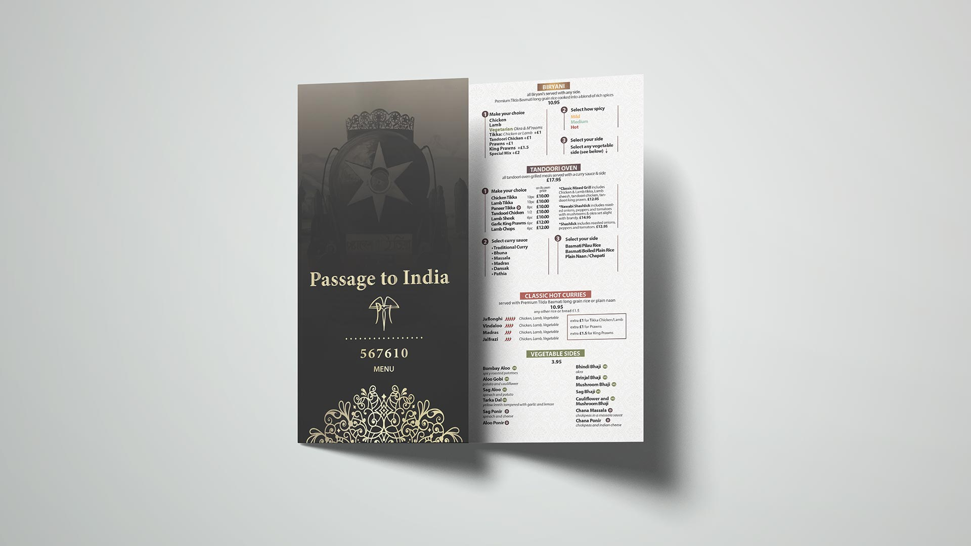branding restaurant, passage to india menu
