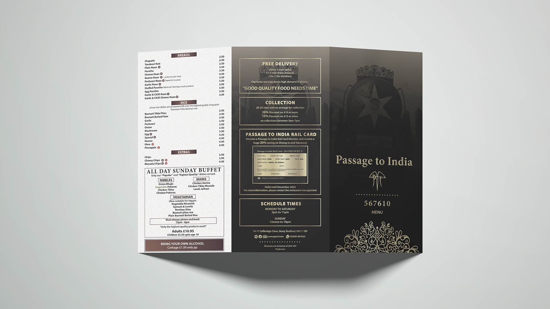 branding, dine in menu design passage to india