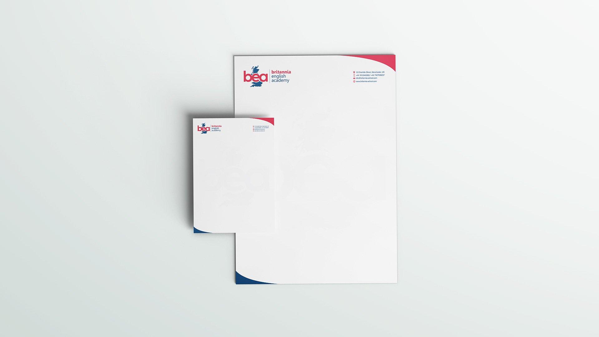 school branding, headed paper design