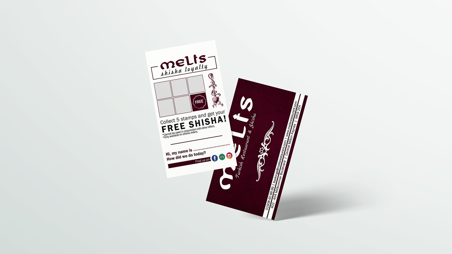 loyalty card design for melis restaurant