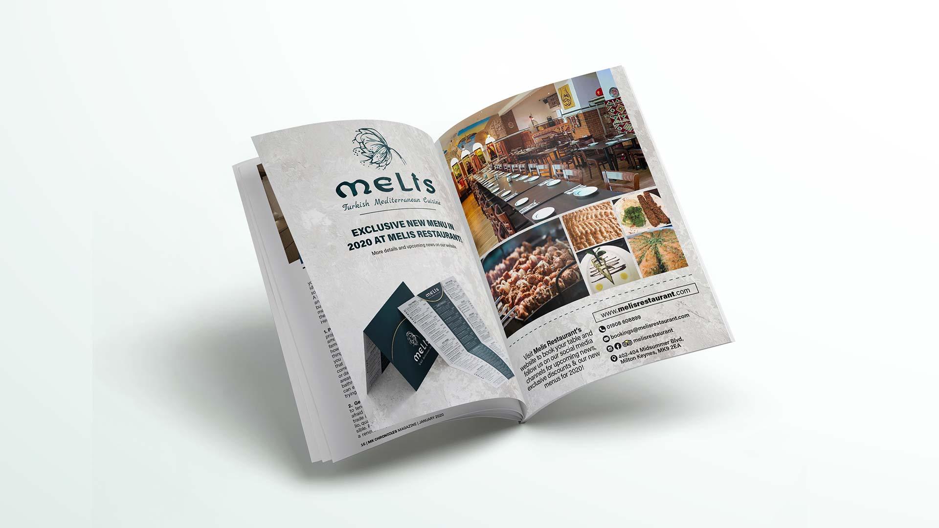 magazine advert design for melis restaurant