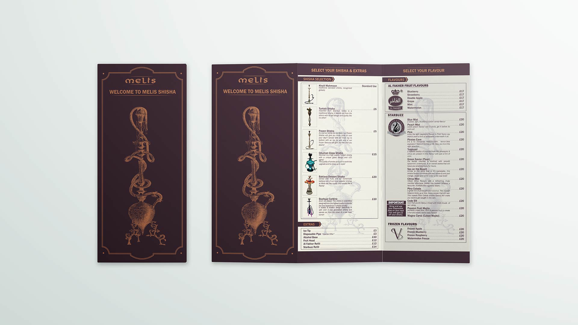 restaurant branding, shisha menu design